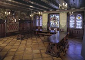 """Das Vereinslokal """"Stube"""" des Breisgau-Geschichtsvereins im Historischen Kaufhaus von Freiburg."""