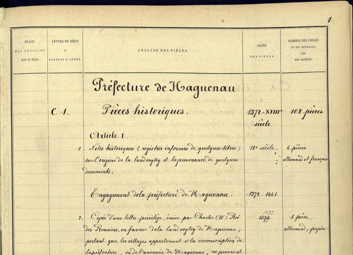 im Findbuch aus dem 19. Jahrhundert