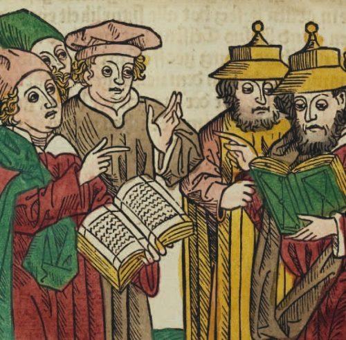 Disputation zwischen Juden und Christen. Holzschnitt aus: Seelenwurzgarten, Ulm 1483, Universitätsbibliothek Heidelberg, Q 429 qt. Inc, fol. 24v.